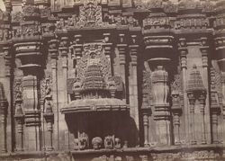 Hurulhullee. Portion of the same [temple], enlarged. [Close view of portion of sculptured wall of the Lakshmi Narasimha Temple, Harnahalli.]
